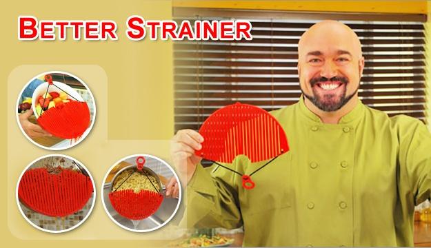 Дуршлаг-накладка для слива воды Better Strainer заменить все Ваши старые громоздкие дуршлаги и сита. Это хорошая альтернатива обычным дуршлагам.