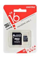 Карта памяти microSD Smartbuy 16GB + адаптер SD Class 10